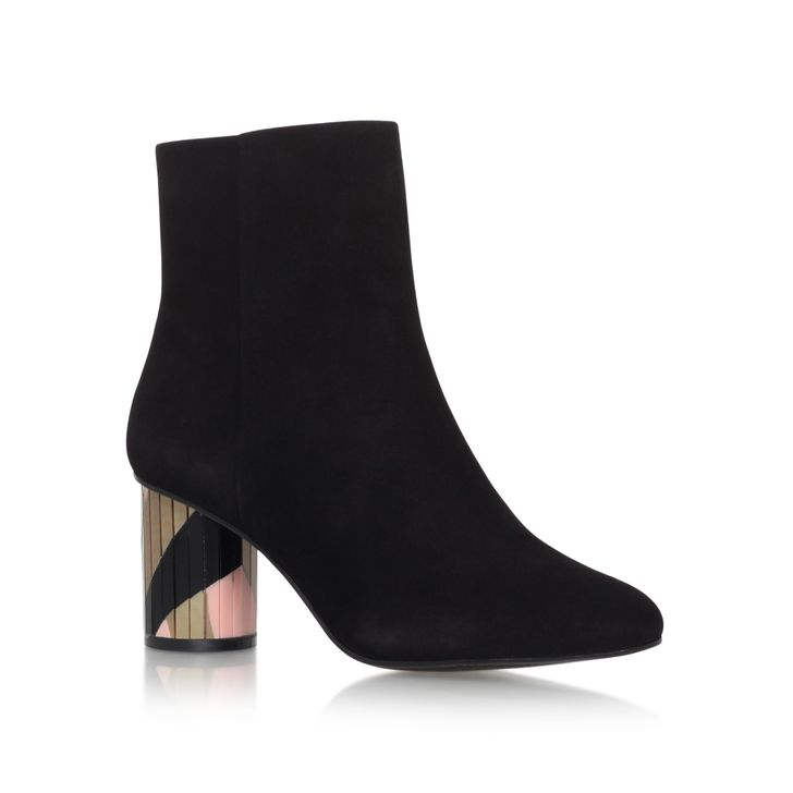 Noble Black And Gold Mid Heel Ankle Boots By Kurt Geiger London | Kurt Geiger