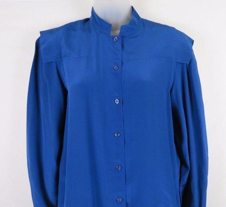 Vintage Saint Pierre Womens 100% Silk Shirtdress Dress Blue Long Sleeve Size 12  #SaintPierre #ShirtDress #Work