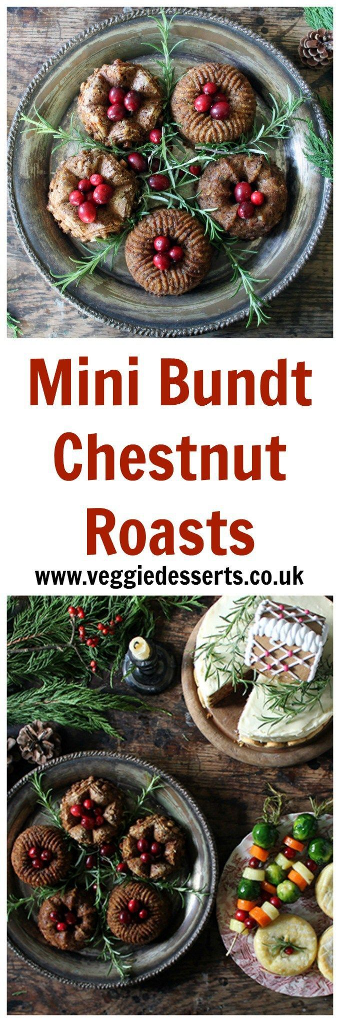 Mini Bundt Chestnut Roasts with Sage Gravy | Veggie Desserts Blog Mini Bundt Chestnut Roasts with Sage Gravy are a wonderful vegetarian Christmas main! Get the recipes for my three-course alternative Christmas dinner, including mini baked camemberts and g