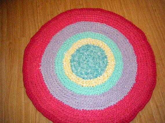 Rainbow Rug Crochet Rainbow Rag Rug Colorful Childrens Rug Rainbow Rug Crochet Rag Rug Childrens Rugs