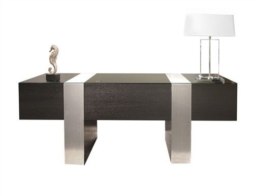 Premium Modern Executive Desk in Wenge & Brushed Aluminum – OfficeDesk.com