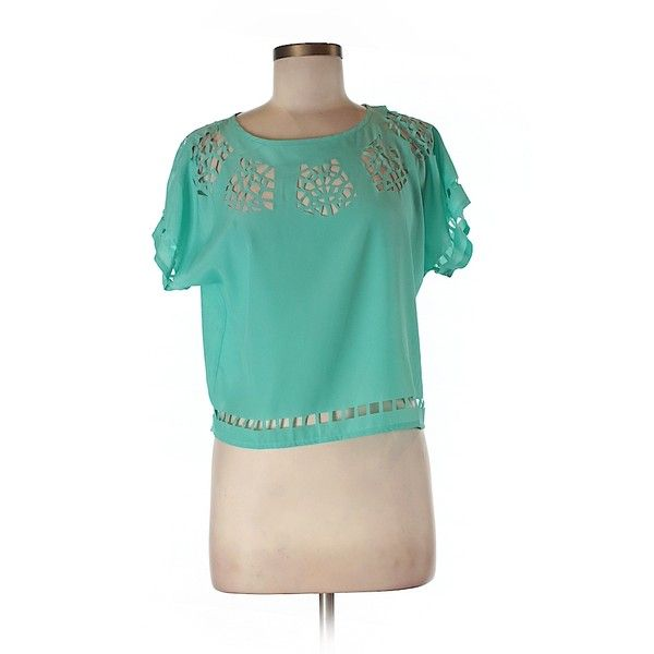 Bar III Short Sleeve Blouse ($21) ❤ liked on Polyvore featuring tops, blouses, green, short sleeve tops, bar iii tops, short-sleeve blouse, green top and blue top
