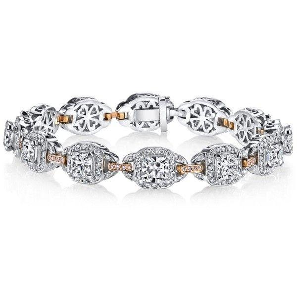 Women's Diamond Bracelets by Harry Kotlar Kotlar Cushions with white &... found on Polyvore featuring jewelry, bracelets, white bangle, diamond jewellery, pave diamond bangle, pink diamond jewelry and diamond bangle