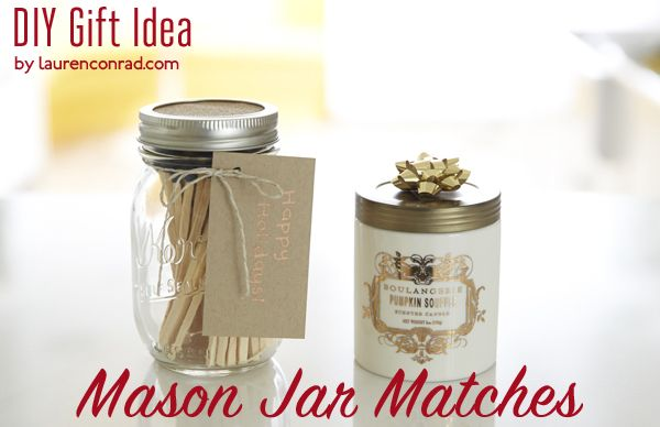 DIY Gift Guide: Mason Jar Matches {too cute}