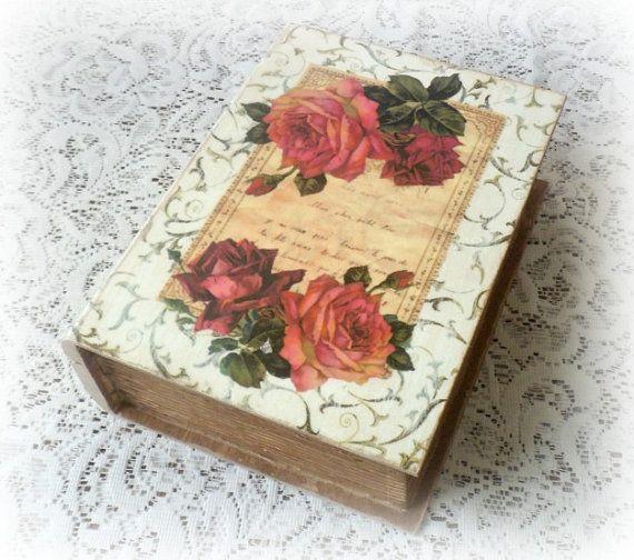 Vintage style keepsake box  trinket box  by CarmenHandCrafts