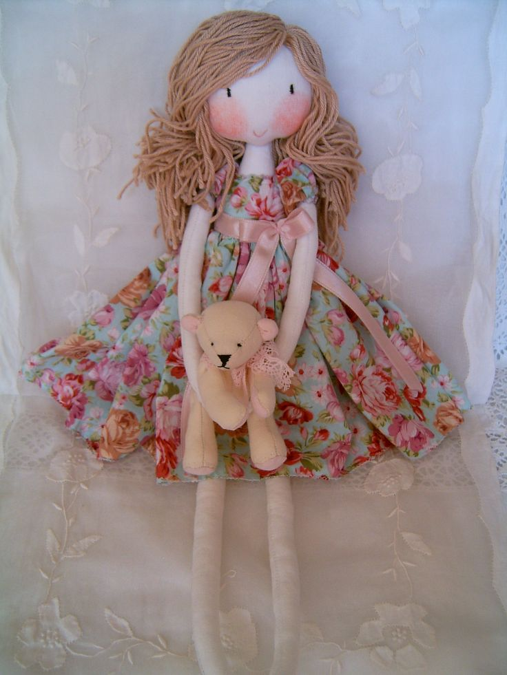 Vintage doll and bear.