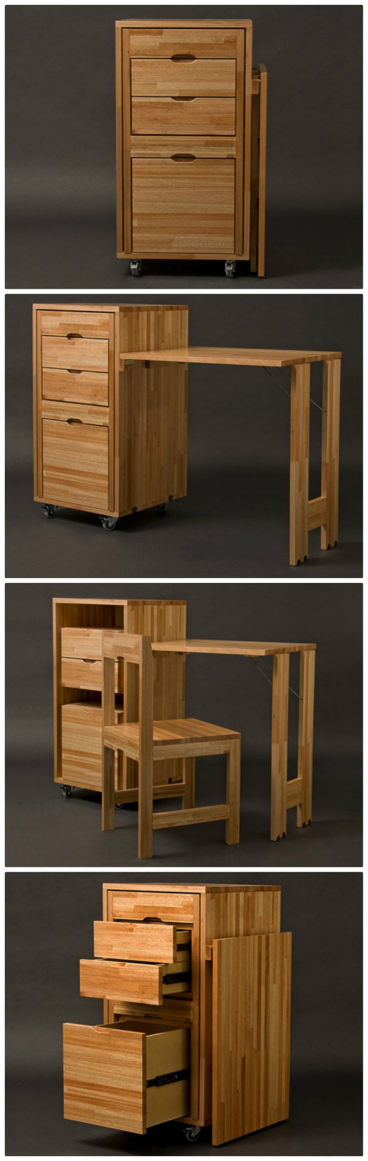 Cabinet with built-in chair and desk