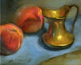 "Peaches with Antique Creamer 8x10"" Oil on linen by Hall Groat II"