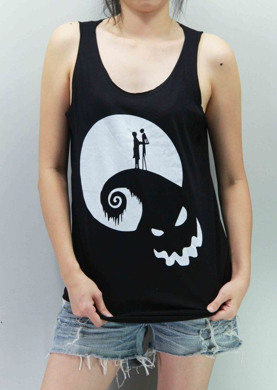 The Nightmare Before Christmas Shirt Tim Burton Shirts Tank Top TShirt Tee Top Tunic Singlet Unisex - silk screen handmade - Size S M L