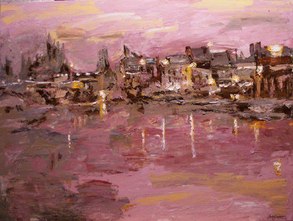 "'The Barrow at Dusk'. 30""x40"" acrylic on canvas, 2009.  A painting by Bob Gravenor.  www.facebook.com/BobGravenorFineArt"