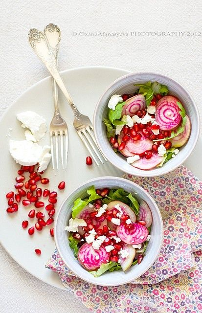 Beet red, goat cheese and pomegranate salad