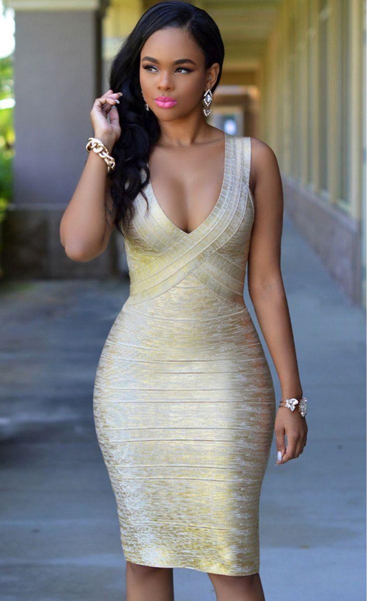 Bandage bodycon dresses 0 celebrities 1639 get lucky extra 50 0 - Gold Foil Midi Luxe Bandage Dress Stella La Moda
