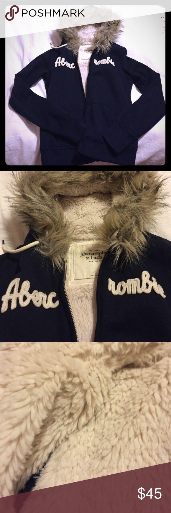 Fur-lined zip up hoodie Navy zip up hoodie, fur-lining, fur hood, never worn. Abercrombie & Fitch Tops Sweatshirts & Hoodies
