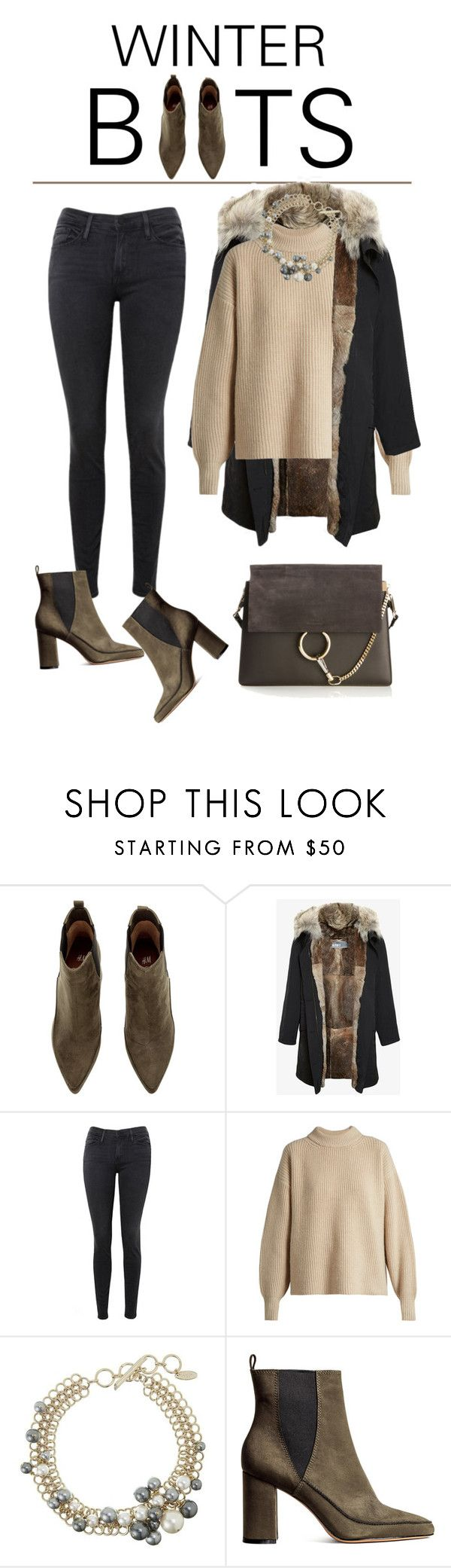 """""""winter boots"""" by melikeo on Polyvore featuring moda, Army Fur by Yves Salomon, Frame, The Row, Lanvin ve Chloé"""