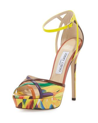 Laurita+Feather-Print+135mm+Sandal,+Red+by+Jimmy+Choo+at+Neiman+Marcus.