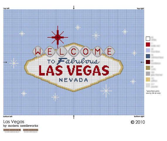 Las Vegas retro moderne Stickerei oder von ModernNeedleworks