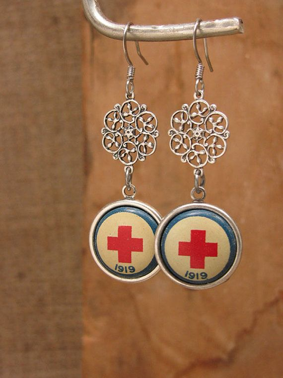 Upcycled Jewelry - Authentic 1919 American Red Cross Converted Pinback Vintage Inspired Earrings - Red, White, Blue