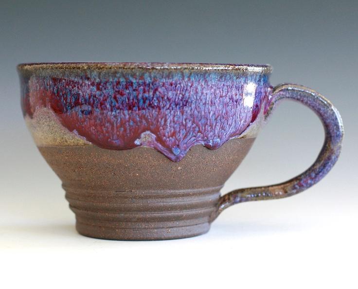 Large Purple Coffee Mug Holds 16 oz handmade ceramic by ocpottery. $25.00, via Etsy.