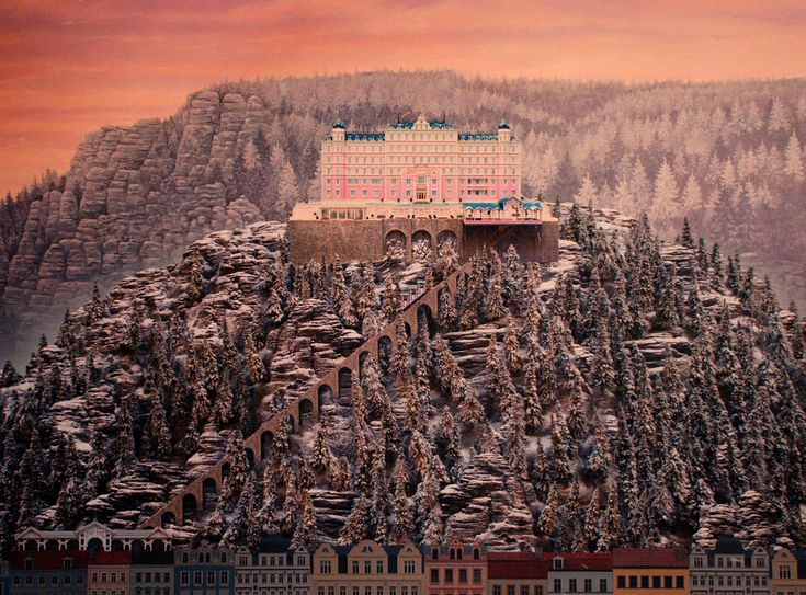 Wes Anderson's 'Grand Budapest Hotel' model set with the background painted by Michael Lenz inspired by Caspar David Friedrich, the 19th c landscape artist