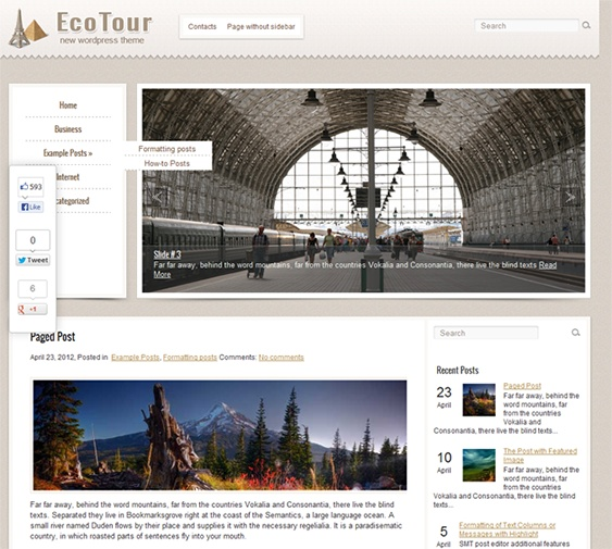 This free WordPress travel theme has a Google Maps shortcode, custom menus and sidebars, a dynamic content loader, a responsive layout, a contact page, and more.