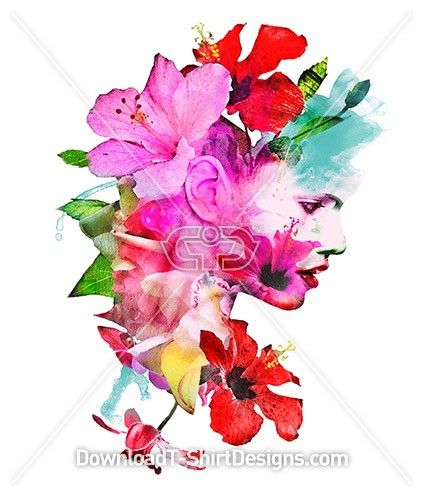 Elegant Floral Female Portrait Collage. Download this design & print on your T-Shirts or products today