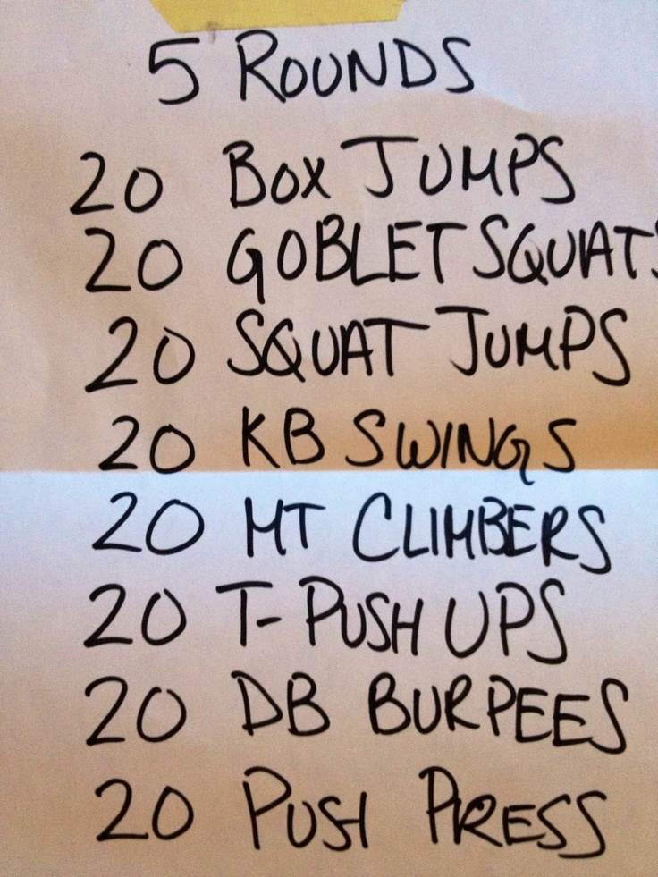 We used a step w/ 4 risers on each side, then a 16kg kettlebell (KB) and 10 lb dumbbells for the t-pushups, burpees, and push presses...see if you can complete all 5 rounds!