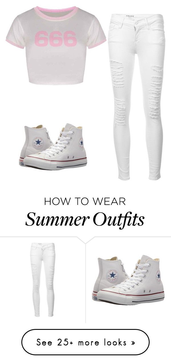 """White Outfit"" by fineapple7 on Polyvore featuring Frame and Converse"