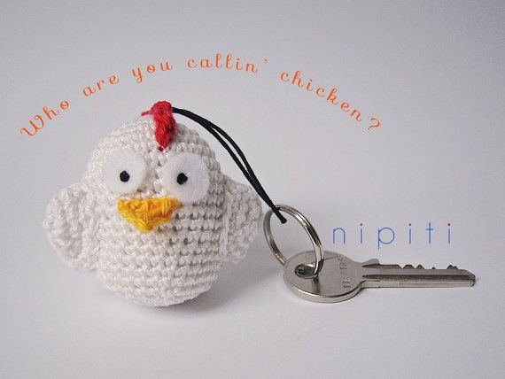 Keychain pendant crochet CHICKEN - Valentines Day gift - New Home gift - Party favor