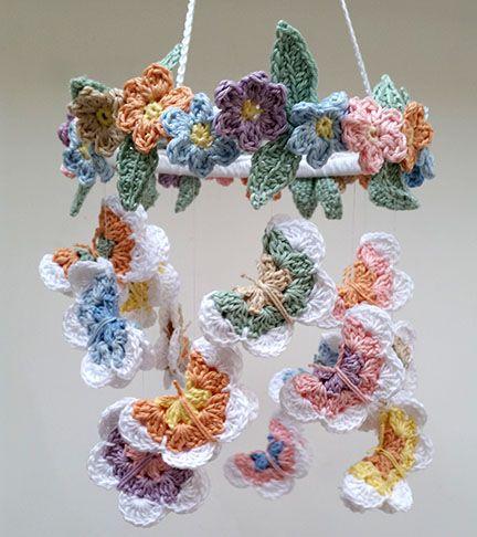 Crochet Butterfly & Flower Mobile - PDF pattern - Planet Penny