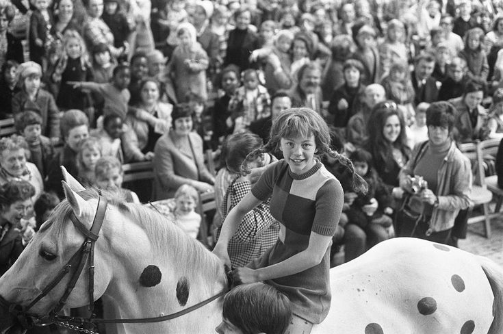 April 22, 1972: Inger Nilsson at the age of 12 as Pippi Longstocking at the RAI in Amsterdam.