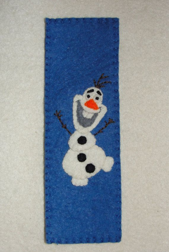 Wool Felt Olaf Bookmark Felt Bookmark Felt Snowman by NitaFeltThings