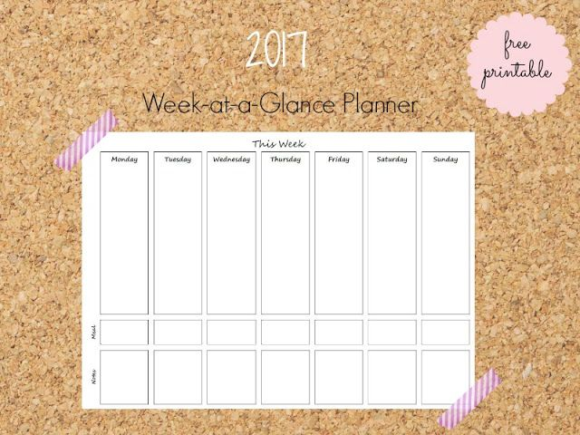 Week at-a-glance free printable planner - Ioanna's Notebook