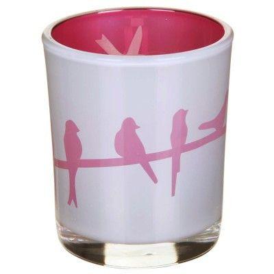 Birds Reflective Tealight Holder - Pink - Amour Decor - 1