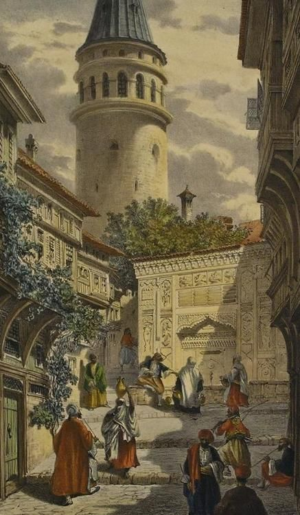 Galata Kulesi gravür via nevin kurtay ~ we love history. we love istanbul. armadaistanbul.com armadaistanbulculture.com armadaistanbulkulturu.com