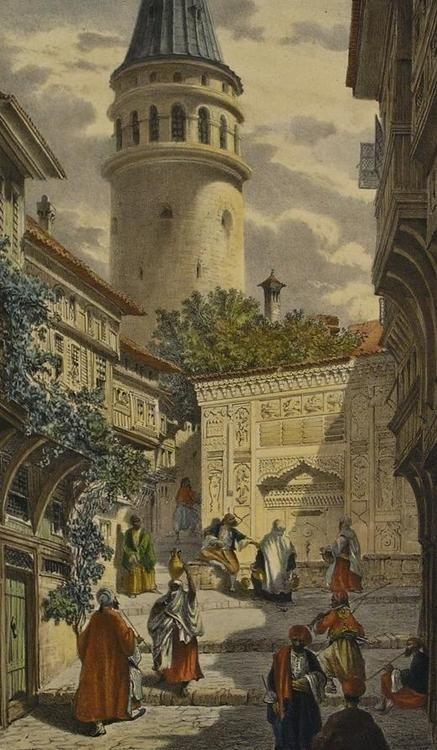 Ahşap rölyef sevenler, eski Galata sokağı....