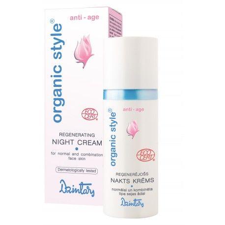 Dzintars Organic style Anti-age Regenerating night cream for normal and combination face skin, biocosmetics from Latvia, Ecocert certificate