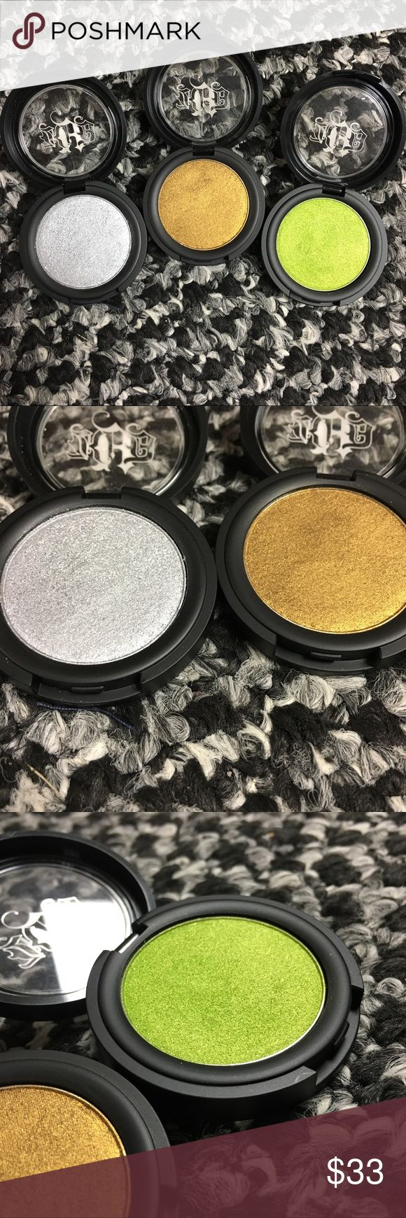 Kat Von D eyeshadow trio Three Kat Von D Metal Crush Eyeshadows in Static Age, Thrasher and Electric Warrior. Swatched. Will include free gift! ❤️ Kat Von D Makeup Eyeshadow