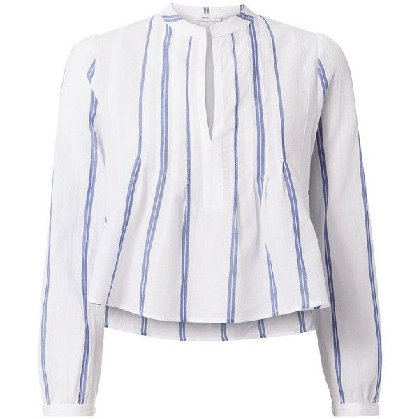 A.L.C. Women's Sawyer Striped Woven Crop Shirt ($265) ❤ liked on Polyvore featuring tops, stripe, white striped shirt, v neck crop top, white long sleeve shirt, white shirts and white long sleeve top