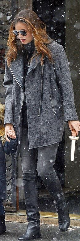 Who made  Miranda Kerr's aviator sunglasses and gray coat that she wore in New York on December 14, 2013?