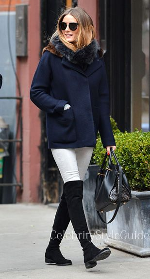 Olivia Palermo Style and Fashion - Stuart Weitzman 5050 over-the-knee boots on Celebrity Style Guide