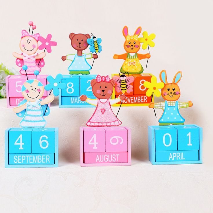creative mini diy cute animal  puzzle scheduler desktop table planner wooden pertual calendar 2017 office accessories gift