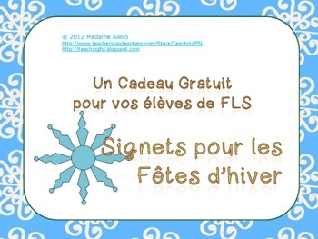FREE French Winter holiday bookmarks - student gifts