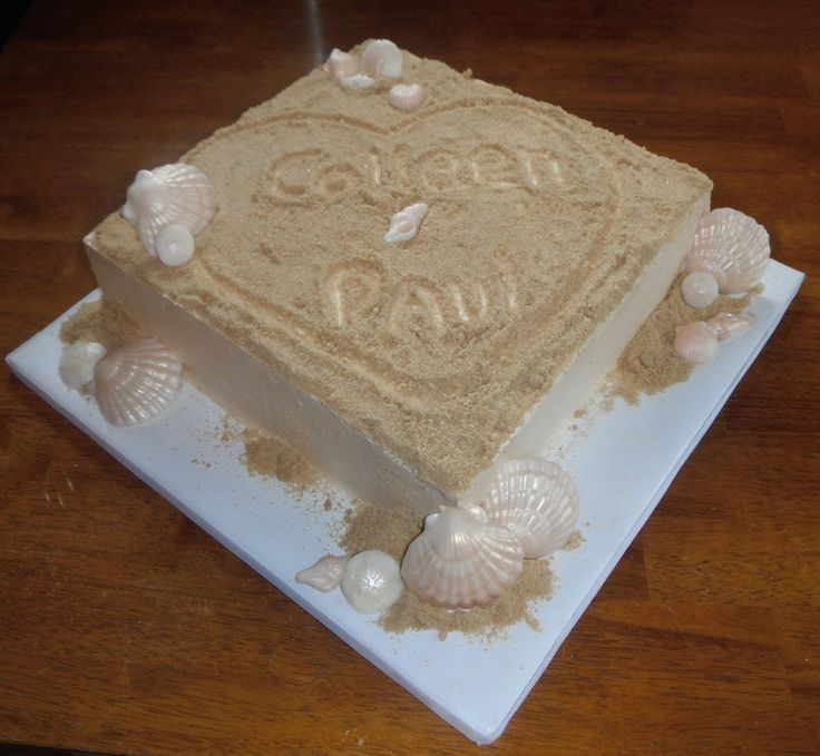 Beach Engagement - This was for a beach themed engagement party.  Sand is white sugar, brown sugar and graham crackers.  Shells are white chocolate.