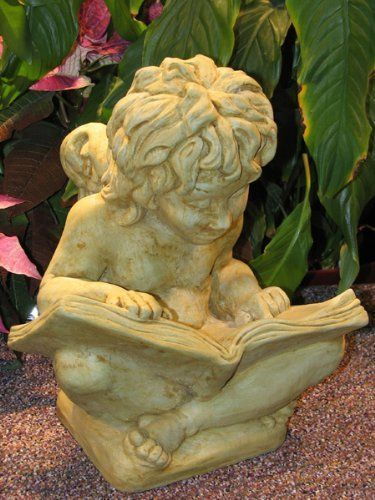 Cherub With Book Statue   Sculpture Statue   Cherub Angel Statues