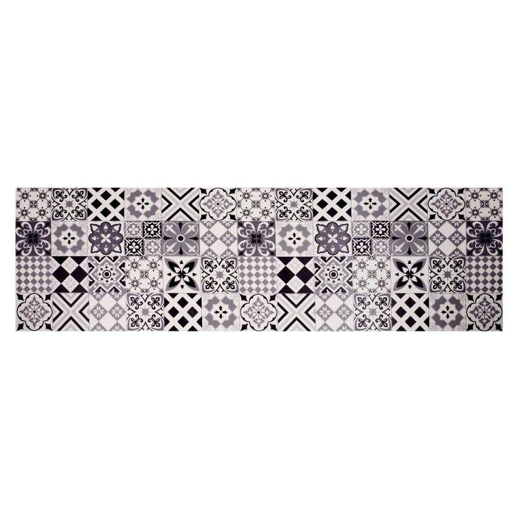 tapis en vinyle motifs carreaux de ciment 60x199 deco. Black Bedroom Furniture Sets. Home Design Ideas