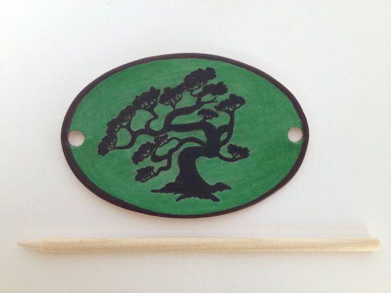 Bonsai Tree Silhouette Leather Hair Clip, Bonsai Tree Stick Barrette, Leather Hair Clip, Women's Hair Clip, Bonsai Tree Ponytail Holder