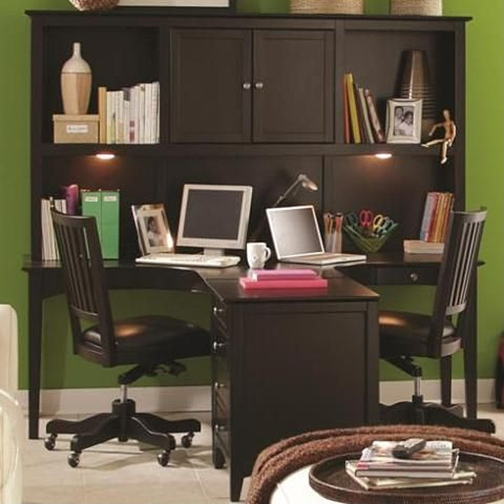 Two Person Ergonomically Friendly Dual T Desk With Storage Hutch Three Drawer Single File Cabinet Combination