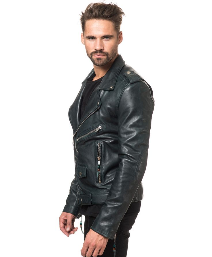 Leather jackets from BLK DNM - Leather Jacket 5 Emerald Blue - Stayhard