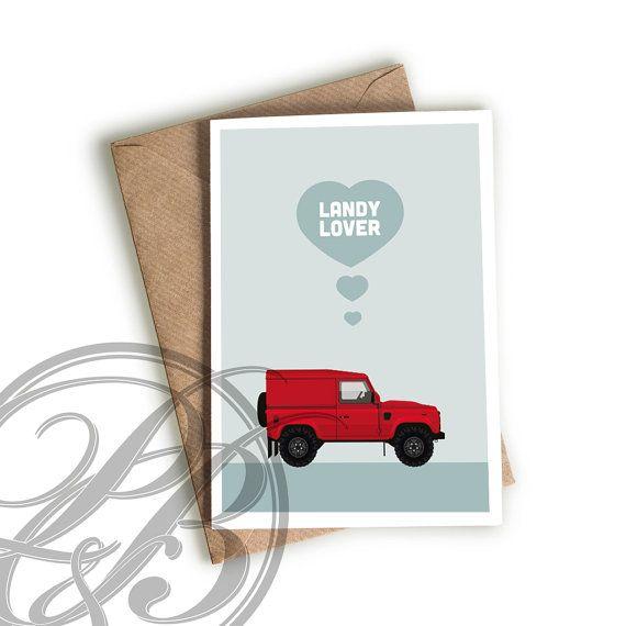 Land Rover Defender Valentines card by purdeyandblue on Etsy