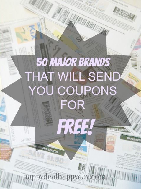 50 Major Brands That Will Send You Coupons for FREE! WOW - great list of where to request coupons!!! happydealhappyday.com